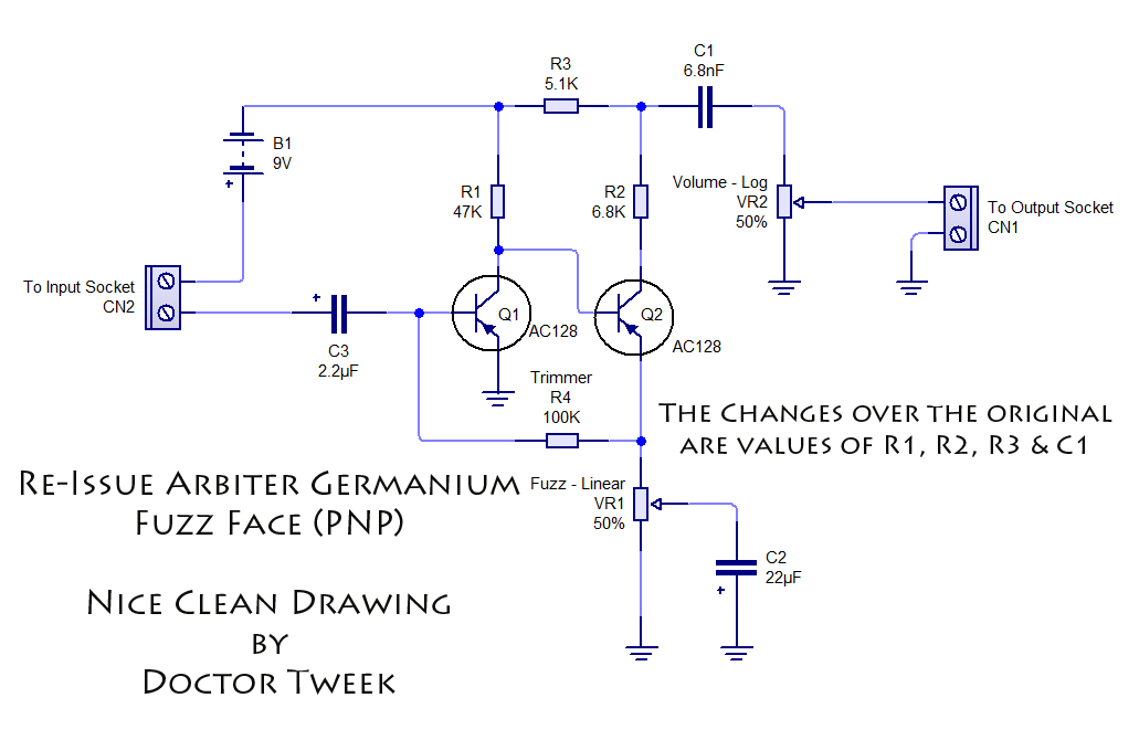 Arbiter Germanium Fuzz Face Re-Issue Kit | Doctor Tweek's Blog on marshall schematic, compressor schematic, simple tube amp schematic, super fuzz schematic, harmonic percolator schematic, overdrive schematic, tube screamer schematic, wah schematic, tremolo schematic, fuzz pedal schematic, simple fuzz box schematic, muff fuzz schematic, tube driver schematic, distortion schematic, mutron iii schematic, ts9 schematic, 3 pole double throw switch schematic, solar charge controller schematic, colorsound overdriver schematic, univibe schematic,