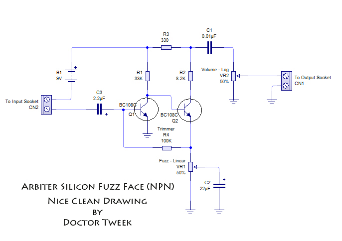 The Arbiter Silicon Fuzz Face | Doctor Tweek's Blog on wah schematic, distortion schematic, mutron iii schematic, ts9 schematic, compressor schematic, univibe schematic, simple tube amp schematic, solar charge controller schematic, super fuzz schematic, simple fuzz box schematic, 3 pole double throw switch schematic, harmonic percolator schematic, muff fuzz schematic, tremolo schematic, overdrive schematic, marshall schematic, colorsound overdriver schematic, tube screamer schematic, fuzz pedal schematic, tube driver schematic,