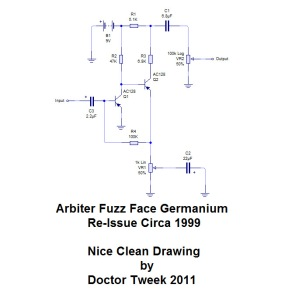Nice clean drawing of the germanium fuzz face re-issue by Doctor Tweek